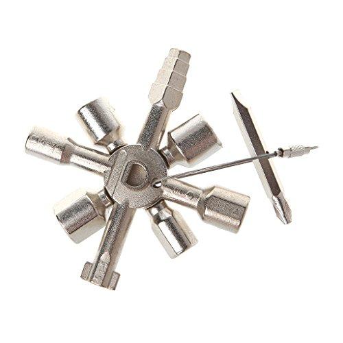 Manyo 1 Stück 10 In 1 Kreuzschalterschlüssel - Universal Square Triangle Schraubendreher - 85.5x29.5mm.