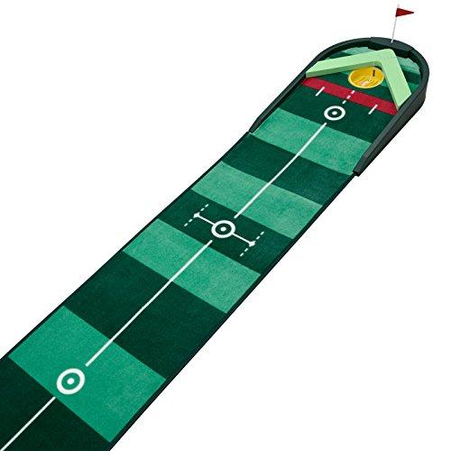 Best Track Boomerang Auto Return, Golf Puttingmatte mit integriertem Ballrückwurf, Indoor-Training für zu Hause oder Büro, Hightech-Teppichfaser Matte inklusive V-Keil Ballstopper und Mattenwischer, 38 x 300 cm