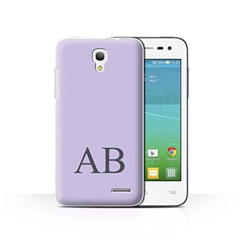 Personalisiert Pastell Monogramm Hülle für Alcatel OneTouch Pop S3 / Lila Design / Initiale/Name/Text Schutzhülle/Case/Etui Alcatel One Touch Pp