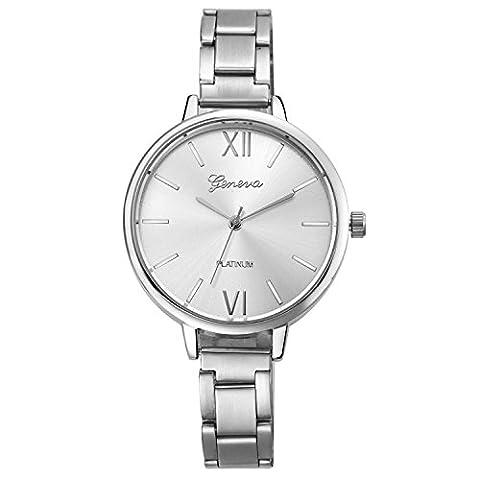 XLORDX GENEVA Femme Luxe Acier Inoxydable Argent Quartz Analog Montre-Bracelet Wrist Watch