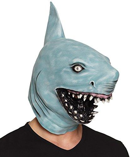 Halloweenia - Hai Shark Maske Kopfbedeckung Latex Gesichtsmaske, Blau