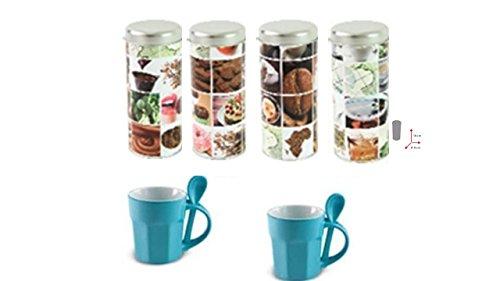 4er Set Kaffee Paddosen von James Premium + 2 James Premium blauen Porzellan Tassen mit Löffel