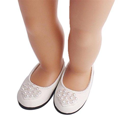 HKFV Puppe Schuhe Pearl Dress Schuh für 18 Zoll unsere Generation American Girl Doll Weiße Perle 18 Zoll American Girl Schuhe Puppenschuhe (American Girl Puppe Grace Kleider)