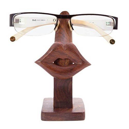 IndiaBigShop Holz Handgefertigte Lip Shaped Brillen Brillenhalter Display-Ständer für Mädchen Frauen und Männer Büro Schreibtisch Home Decor