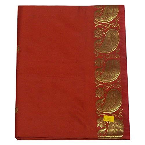 (indischerbasar.de Sari rotbraun Goldbrokat traditionelle Bekleidung Indien Tracht inkl. Wickelanleitung Bindikärtchen)