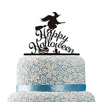 Acrylique Balai sorcière gâteau gâteau de Happy Halloween citrouille Silhouette pour gâteaux Festival Cadeau Décorations de fête