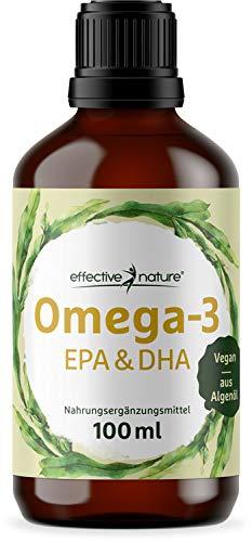 effective nature Omega-3 Öl EPA & DHA, veganes Algenöl mit wertvollen mehrfach ungesättigten Fettsäuren, pflanzlich & hochdosiert, 1116 mg Omega-3 pro Tagesdosis, ohne synthetische Zusätze, 100 ml -