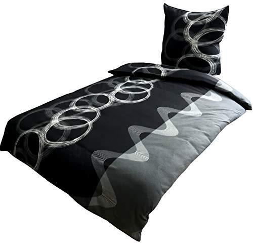 Leonado Vicenti 4 TLG. / 2×2 TLG. Bettwäsche 135×200 cm mit gestreift in grau/weiß aus Fleece Set mit Reißverschluss