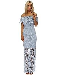 Paper Dolls Blue Crochet Lace Bardot Maxi Dress