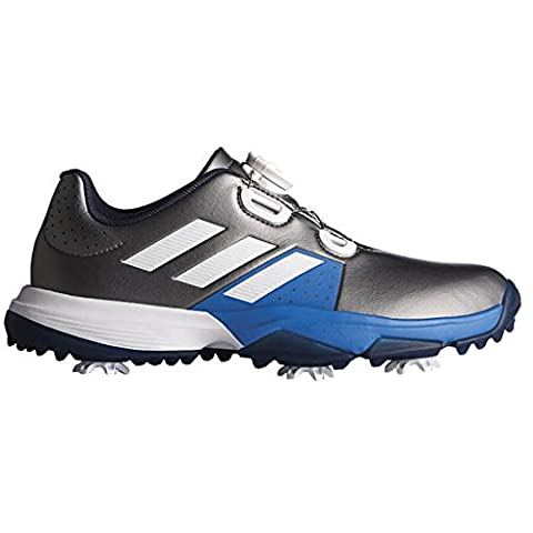 adidas Adipower Boa, Chaussures de Golf Mixte Enfant, Argent (Dark Silver Metallic/White/Blast Blue), 37 1/3 EU