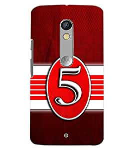 PrintDhaba NUMBER FIVE D-6645 Back Case Cover for MOTOROLA MOTO X PLAY (Multi-Coloured)