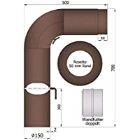 Umbra - Juego de tubos de chimenea (90°, 700 x 500 mm,