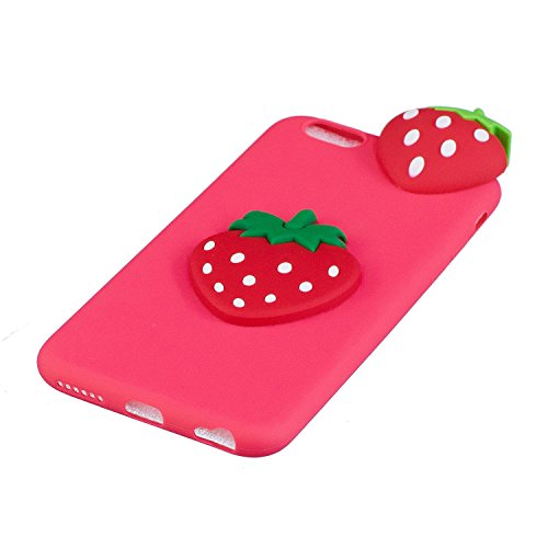 Coque iPhone 6 Plus , Etui iPhone 6S Plus , CaseLover 3D Etui Coque TPU Slim pour Apple iPhone 6 Plus / Apple iPhone 6S Plus (5.5 pouces) Mode Flexible Souple Soft Case Couverture Housse Protection An Fraise