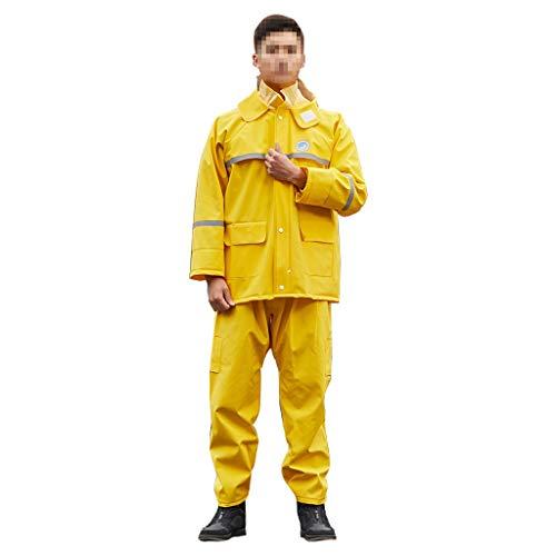 GRYY Leichter gelber Regenmantel für Frauen und Männer, Verdickung Erwachsene Regenmantel Regenhose Split Anzug Tragbare Atmungsaktive Outdoor Camping Reiten Anti Storm (größe : XXXL)