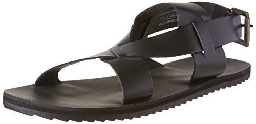 United Colors of Benetton Men's Black Leather Sandals and Floaters- 9 Uk/43...