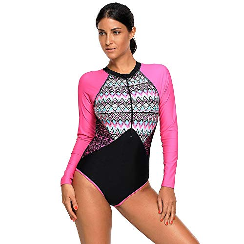 4b2c0aa1d0 Ofgcfbvxd One Piece Women Swimwear Round Neck Long Sleeve Chest Zip Cushion  One Piece Swimsuit by