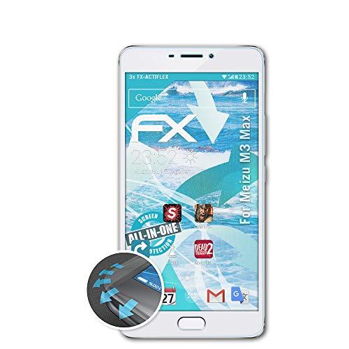 atFolix Schutzfolie passend für Meizu M3 Max Folie, ultraklare & Flexible FX Bildschirmschutzfolie (3X)