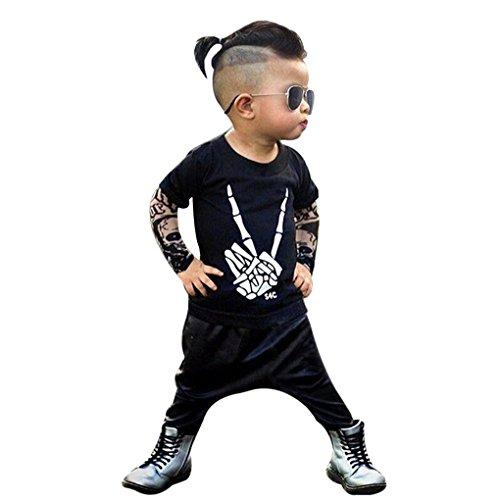 JYJM Neugeborenes kühles Baby Buchstabe Tätowierungs T-Shirt Oberseiten Hosen Ausstattungs Kleidung Satz (Größe:12 Monate, Schwarz)