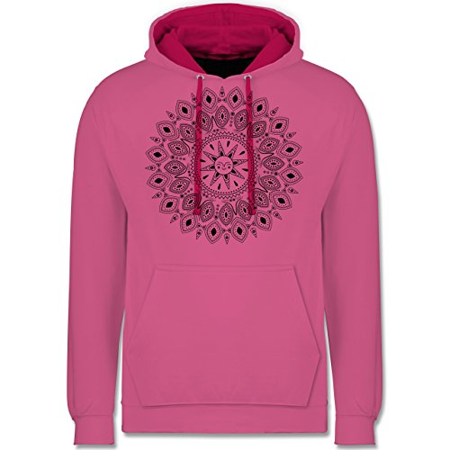 Boheme Look - Boho Mandala Yoga Sketch - Kontrast Hoodie Rosa/Fuchsia