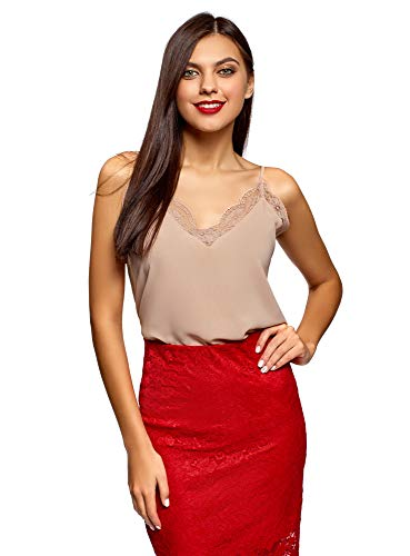 oodji Ultra Donna Lingerie Canottiera con Pizzo, Beige, IT 46 / EU 42 / L