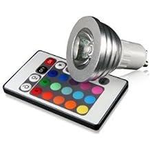 SODIAL(R) Bombilla Foco GU10 RGB LED Color Cambiable Regulable con Remoto Control