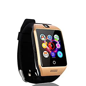 Mobile Link Bluetooth Smart Watch (Golden) with All Function of Smartphones ||Q18 Smart Watch Phone with Camera TF SIM Card Slot||Alarm & Stop Watch||Facebook||Whats App||Twitter Compatible for Asus Zenfone Max