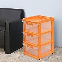 Nilkamal CHTR23 Transparent Three Layers Plastic Chest of Drawer (Orange)