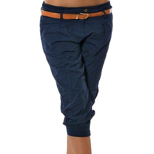 Hibote Damen Chino Stoffhose Capri 3/4 Hose Kurze Sommer Bermuda Einfarbig Beiläufige Pants Kurze Hosen Streetwear S-5XL