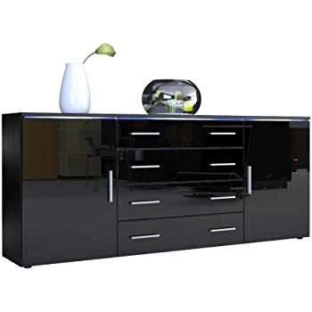 sideboard kommode faro v2 korpus in schwarz matt front in schwarz hochglanz vladon amazon. Black Bedroom Furniture Sets. Home Design Ideas