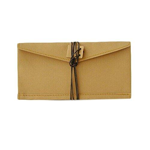 Creative enveloppe papier kraft stylo cosmétique stylo sac affaire (20 * 9 cm, brun)