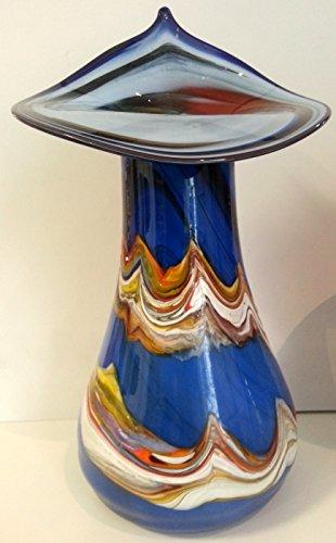 Jarrón grande abombado de cristal coloreado, florero de vidrio soplad