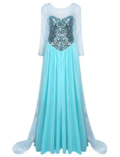 iiniim Damen Festlich Kleid Prinzessin Kleid Langes Abendkleid Cosplay Fasching Karneval Verkleidung Party Kleid ()