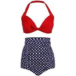 dunkelblauer Polka Dot Lunares Retro Pinup Vintage Bikini con Parte Superior Alta Cintura y roja XXX-Large
