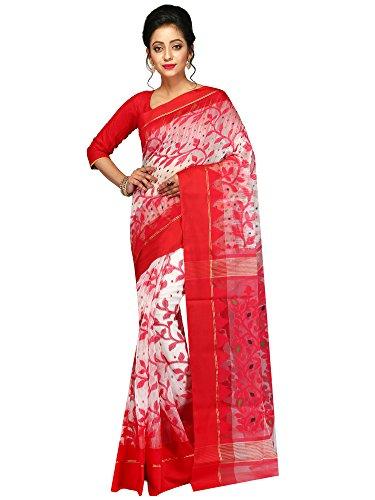 PinkLoom Women's Dhakai Jamdani Saree of Bengal in Ikat weave(Red and Beige)...