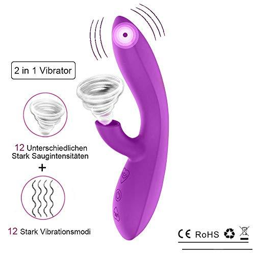 Deluxe Stark Klitoris Sauger Vibratoren für sie Klitoris und G-punkt mit Orgasmus Garantie und stoßfunktion, Dildo Klitoris Vibrator Sexspielzeug für frauen und paare