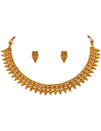 JFL - Traditional Ethnic One Gram Gold Plated Designer Necklace Set With Earring For Girls & Women.