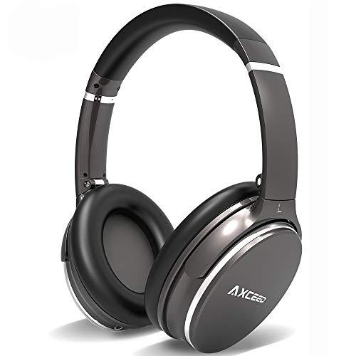 Bluetooth Kopfhörer Kabellose, AXCEED Active Noise Cancelling Over Ear Headphones Wireless Kopfhörer mit Mikrofon, HiFi Stereo Bass, CVC6.0, für Alle Geräte mit Bluetooth (Schwarz)
