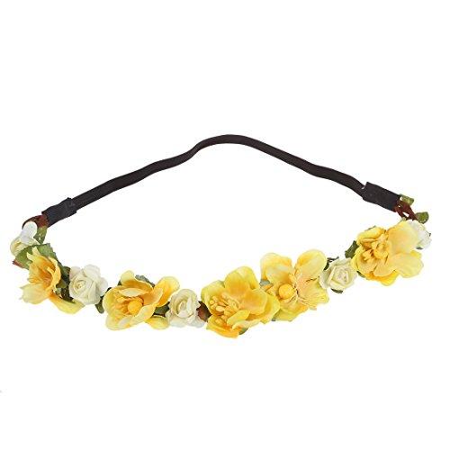 Bandeau-SODIAL(R) Fleur Boho Floral Bandeau Festival Guirlande Mariage Bandeau Nuptiale(Jaune)