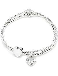 Annie Haak 17cm Mini Orchid Silver Charm Bracelet - Fabulous Friend engraved Heart Charm