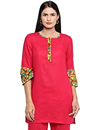 99cc80e5afd8 Utsav Fashion Printed Cotton Slub Straight Cut Kurta in Fuchsia