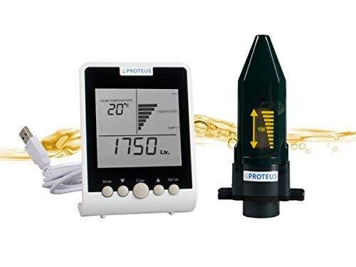 Füllstandsanzeige für Heizöl, Öltank. EcoMeter Plus mit Antennenverlängerung für Erdtanks, funktote Bereiche. Füllstandssensor (batteriebetrieben) mit Funk-Display, Funkübertragung bis zu 150m