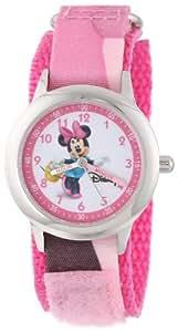 Disney By Ewatchfactory Kids Minnie Mouse Quartz Watch with White Dial Time Teacher Display and Pink Nylon Strap W000035
