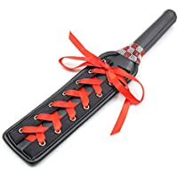 LUOEM Fetish Leather Spanking Paddle with Ribbon and Metal Eyelets Juego de roles Disciplina Juguetes Regalo de boda