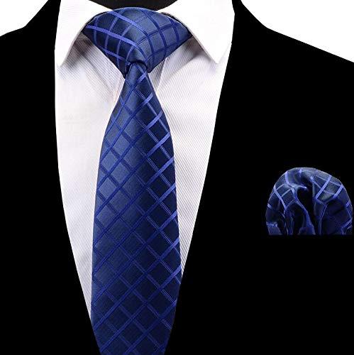 LLTYTE Neue Männer Krawatte Set Gestreifte Plaid Krawatte Und Taschentuch Seide Krawatte MannHombre Einstecktuch Rote Hochzeit Krawatte - Gestreifte Neue Seide Krawatte