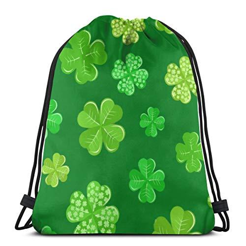 Desing shop Green Shamrock On Dark of St Patrick's Day 3D Print Drawstring Backpack Rucksack Shoulder Bags Gym Bag for Adult 16.9