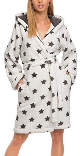 L&L Damen Bademantel LL0106 (Weiß/Onyx Sterne, S)