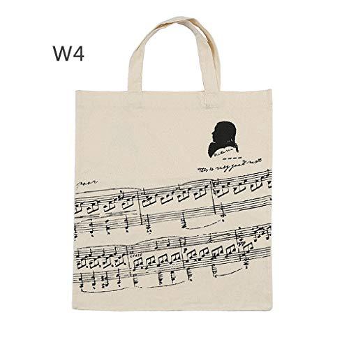 JOYKK Baumwollmusik Ergebnis Handtasche Musikalische Elemente Einkaufstasche Zubehör für Instrumente - 4 weiße Tabs (Tasche Musikalische Tastatur)