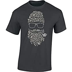Camiseta: Bird's Beard - Barba de Pájaro - Fígaro - Bigote - Biker - Hipster - Marino - Fun T-Shirt - Barber-Shop - Hombre-s y Mujer-es - Fumar - Pipa - 420 - Retro (XL)