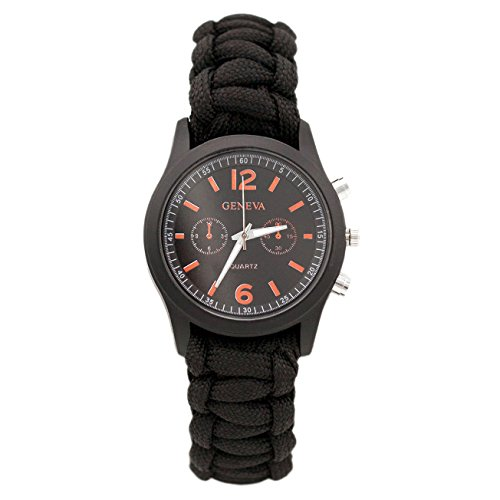 Paracord Universal Armband Schwarz mit Uhr u. Feuerstarter Armbanduhr Survival-Seil Marke PRECORN