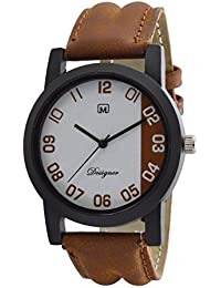 Om Designer Analogue White Dial Analogue Brown Belt Watch For Mens & Boys OM2323
